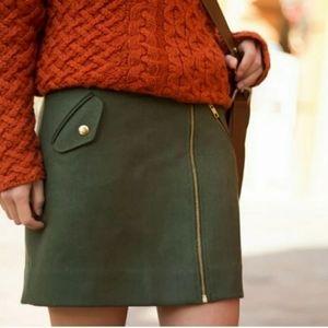 J Crew Wool Zipper Skirt Green SZ S